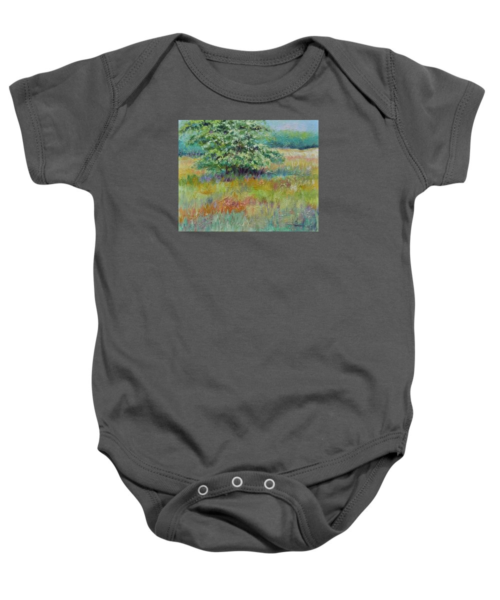 Summer Landscapes Baby Onesie featuring the painting SummerTree by Ginger Concepcion