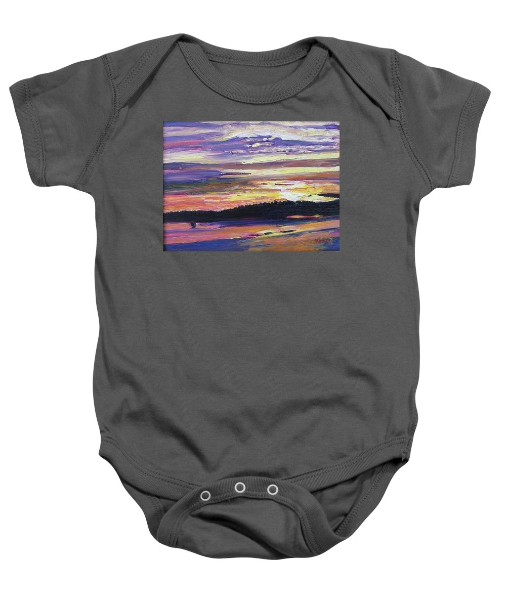 Sunset Baby Onesie featuring the painting Sunset by Richard Nowak