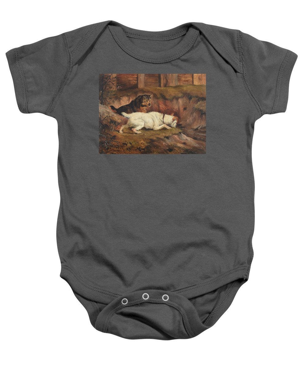 Alfred Wheeler () Terriers Ratting Baby Onesie featuring the painting Terriers Ratting by Alfred Wheeler