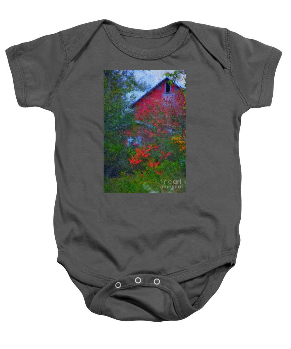 Digital Photo Baby Onesie featuring the photograph The Barn by David Lane