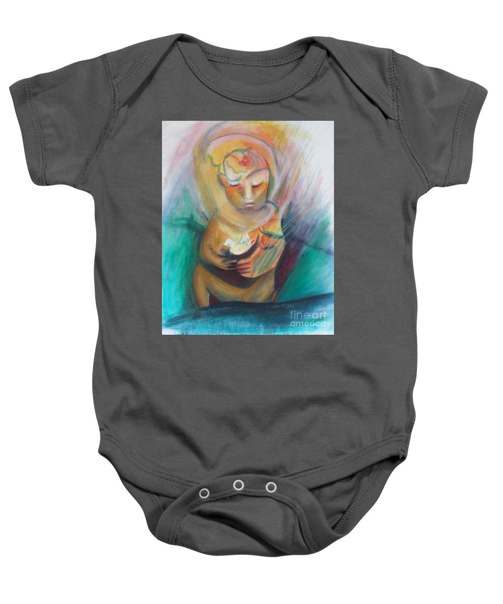 Acrylic Baby Onesie featuring the painting The Birth Of Peace by Johnny Vaughn