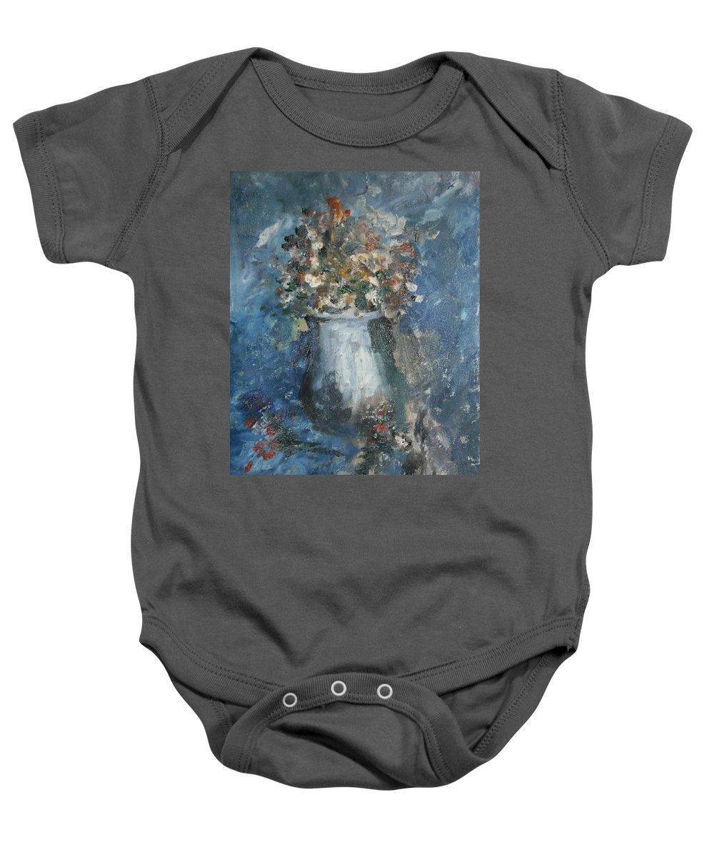 Still Life Baby Onesie featuring the painting The Blue Vase by Edward Wolverton