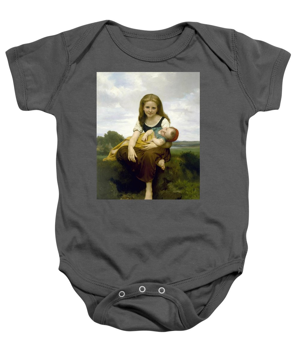 William-adolphe Bouguereau Baby Onesie featuring the painting The Elder Sister by William-Adolphe Bouguereau