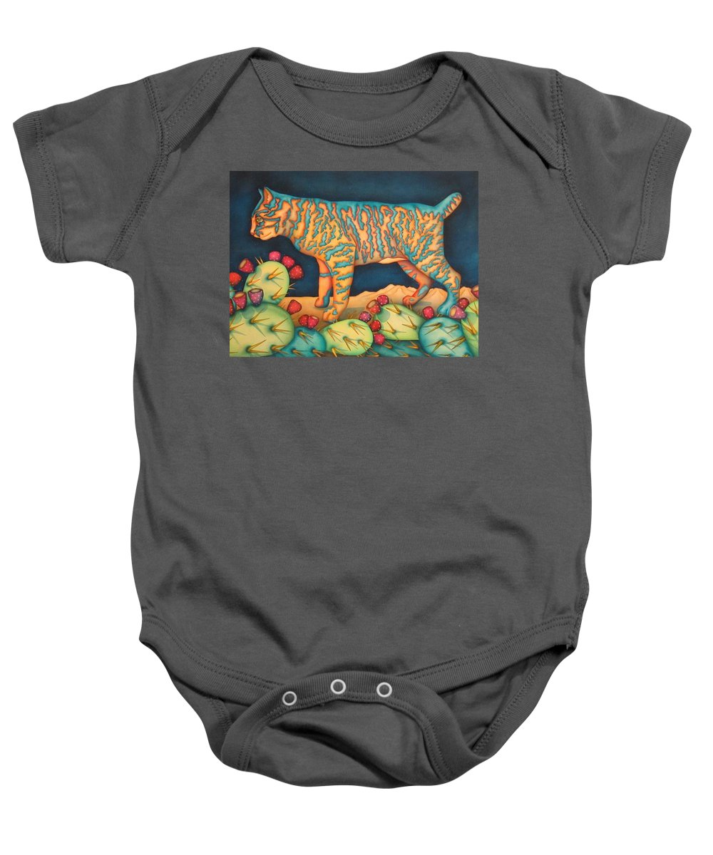 Cat Baby Onesie featuring the painting The Moon The Mountains Cacti A Cat by Jeniffer Stapher-Thomas