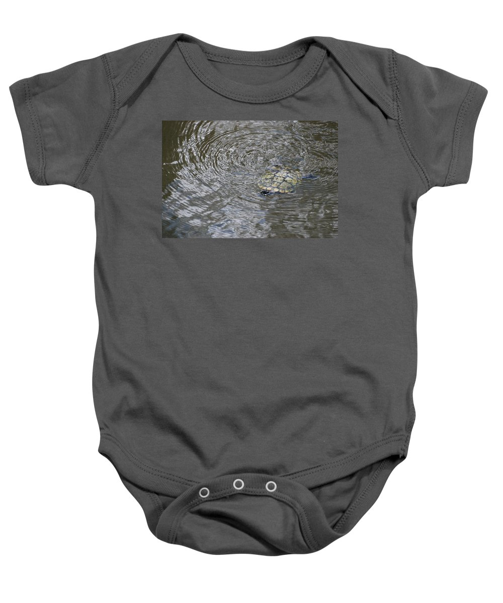 Water Baby Onesie featuring the photograph The Swimming Turtle by Rob Hans