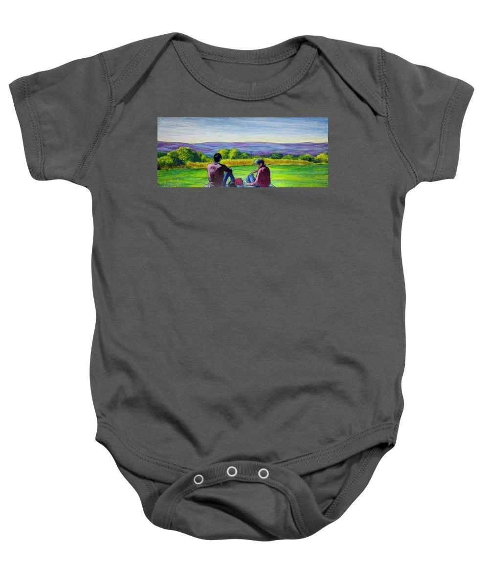 Landscape Baby Onesie featuring the painting The View by Ron Richard Baviello