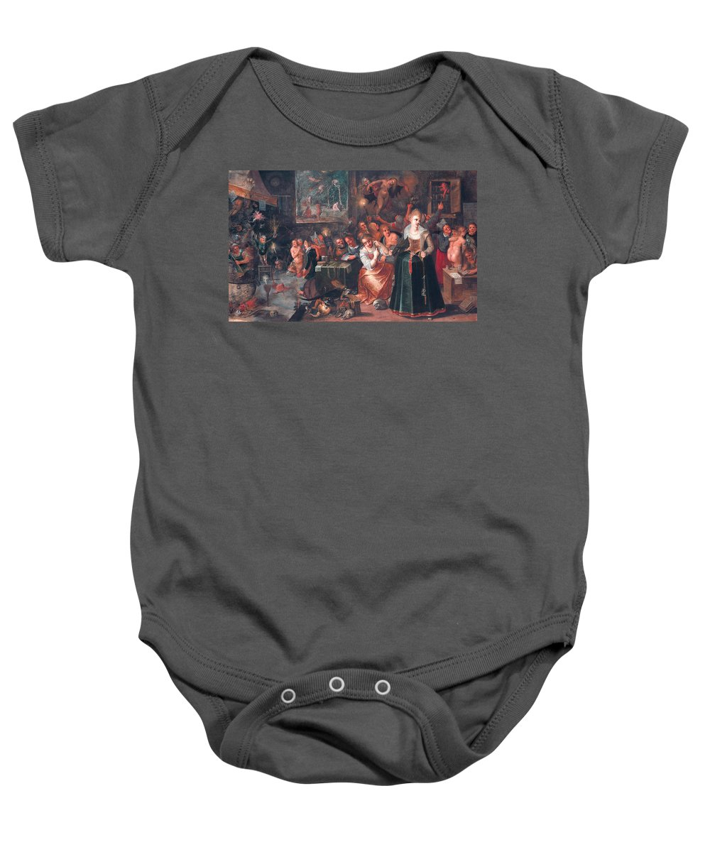 17th Century Art Baby Onesie featuring the painting The Witches' Sabbath by Frans Francken the Younger