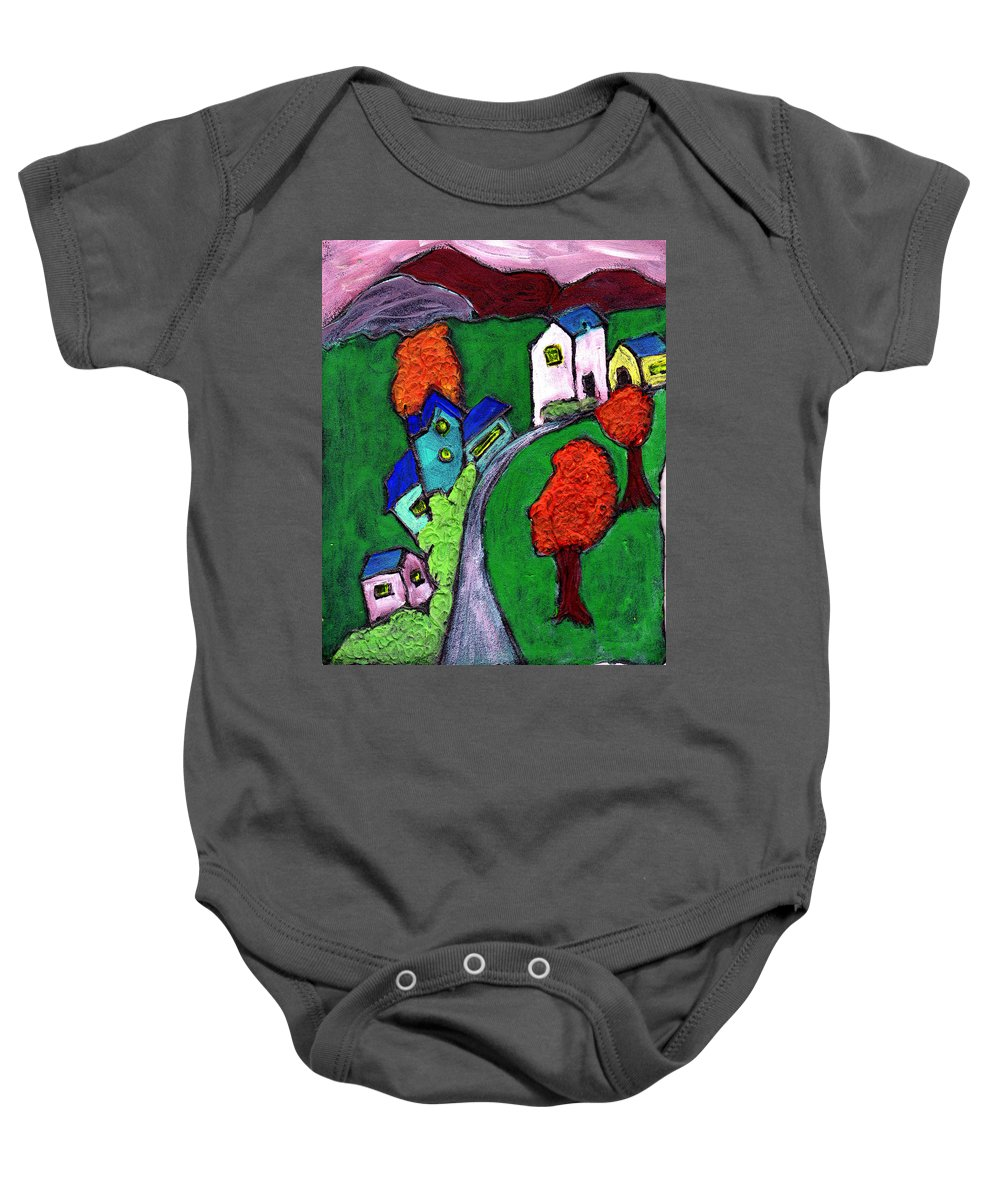 Whimsical Baby Onesie featuring the painting There Was A Crooked House by Wayne Potrafka