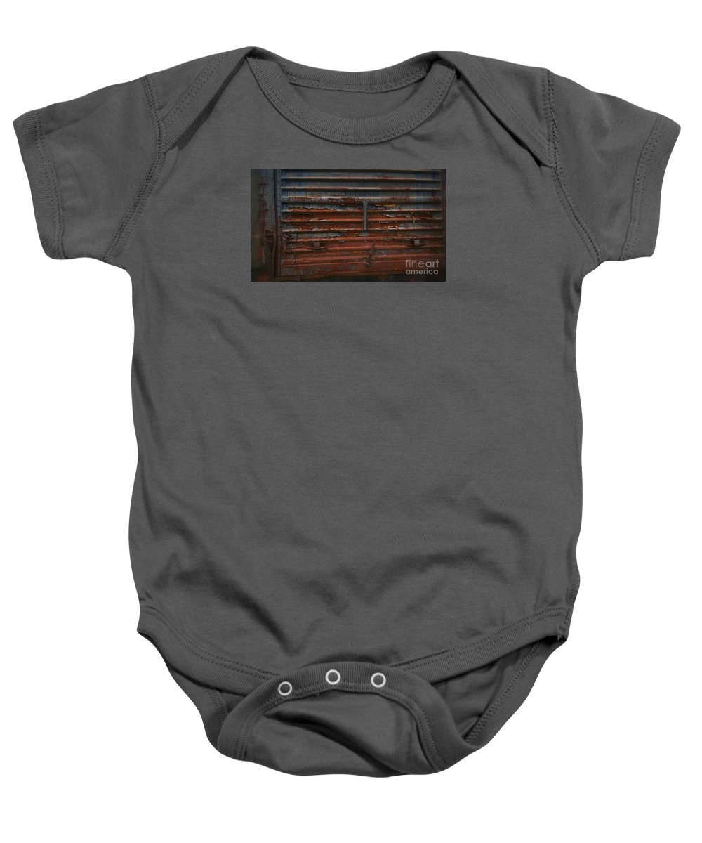 Train Baby Onesie featuring the photograph Trains 13 Vign by Jay Mann