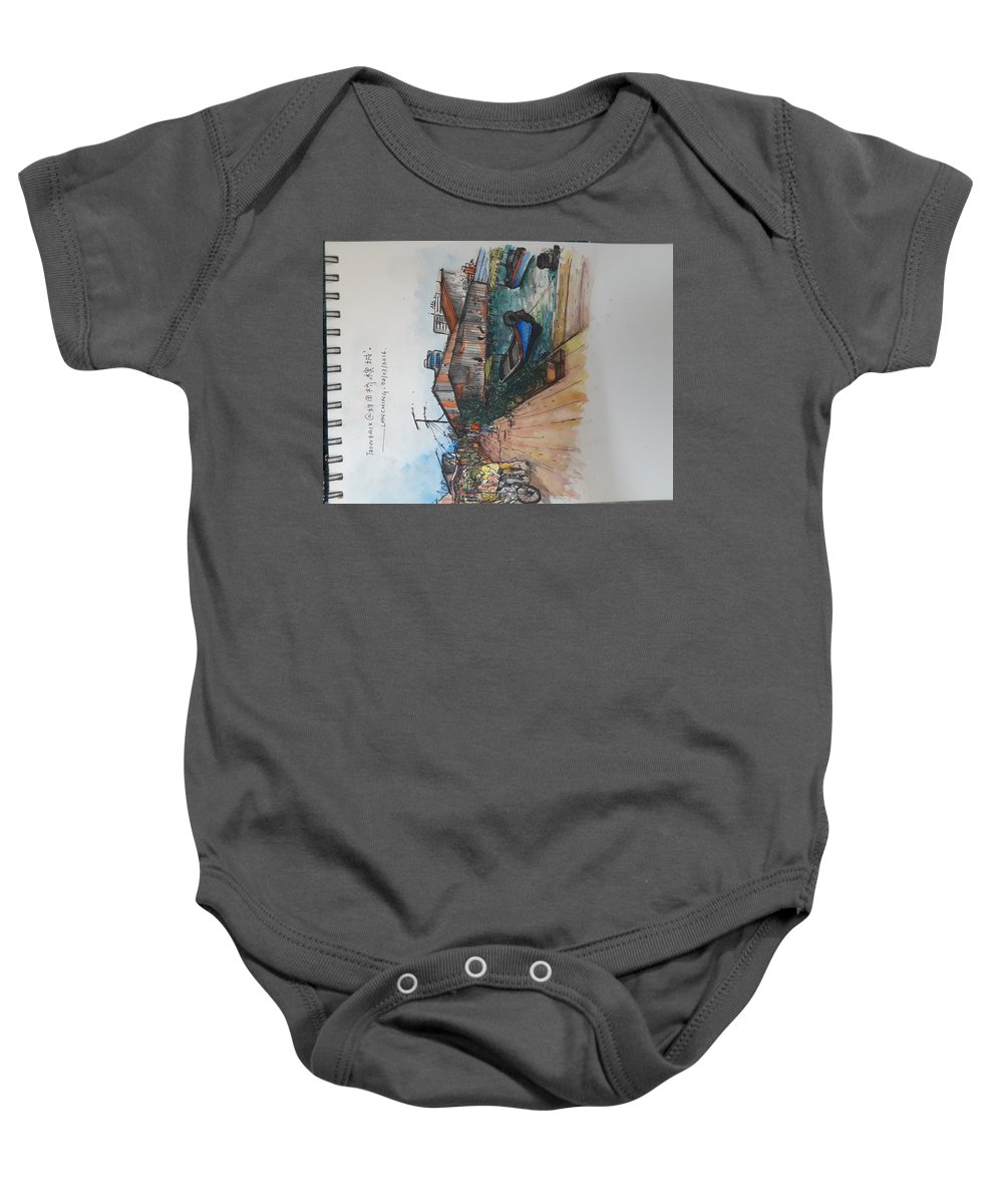 Watercolor Baby Onesie featuring the painting Trip To Chew's Bridge by Tan Lan Ching