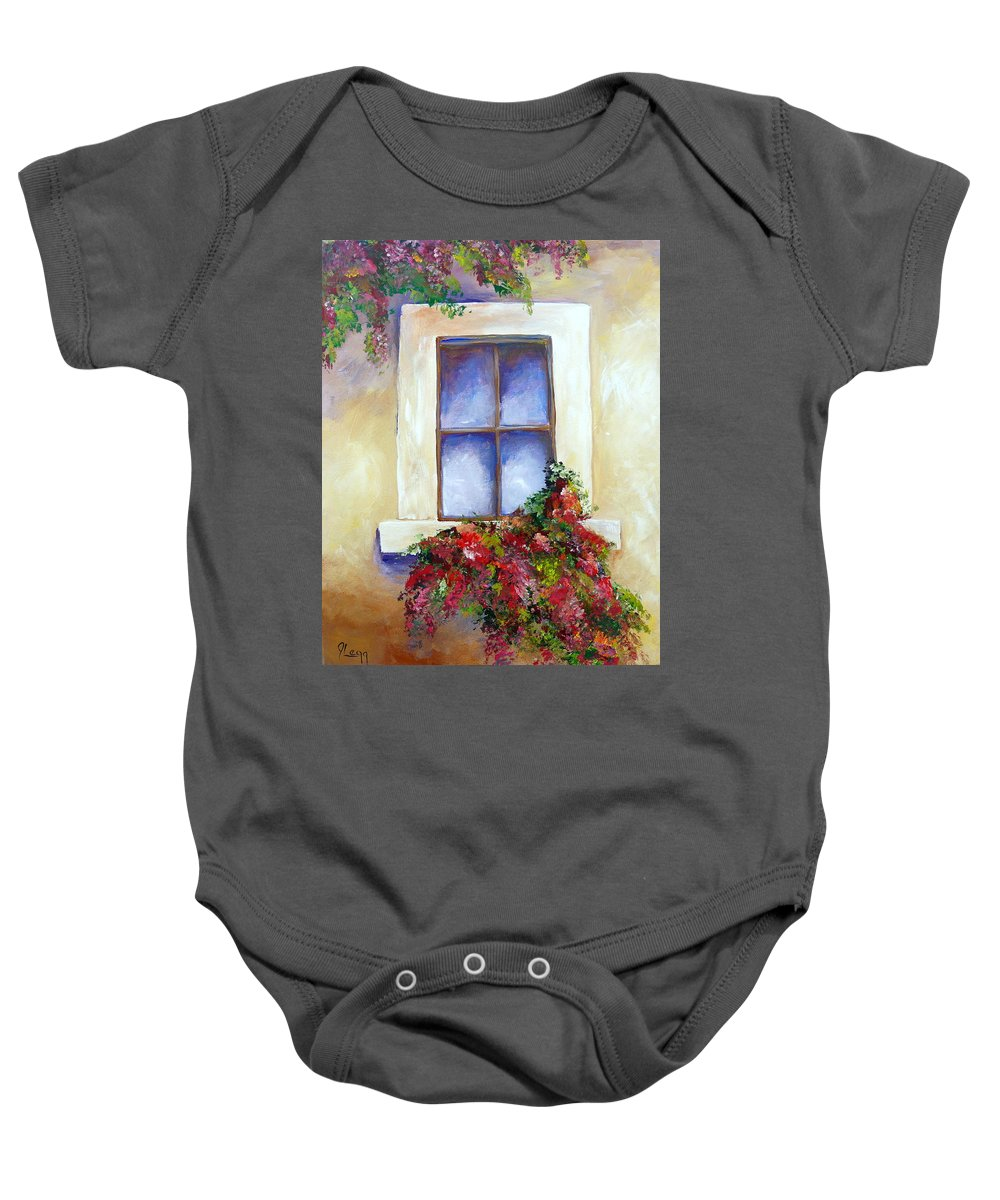 Window Baby Onesie featuring the painting Window Box by Janette Legg