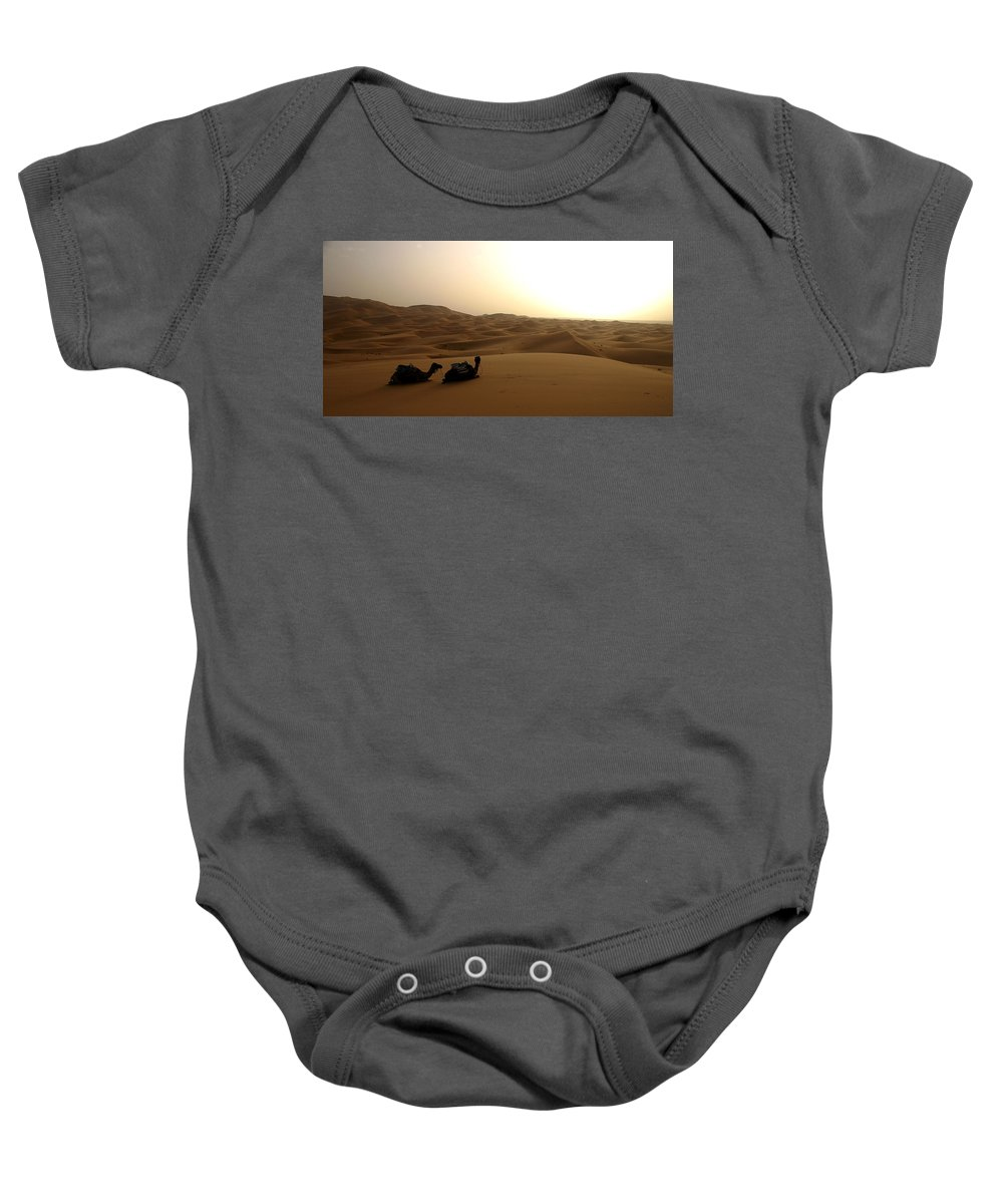 Camel Baby Onesie featuring the photograph Two Camels At Sunset In The Desert by Ralph A Ledergerber-Photography