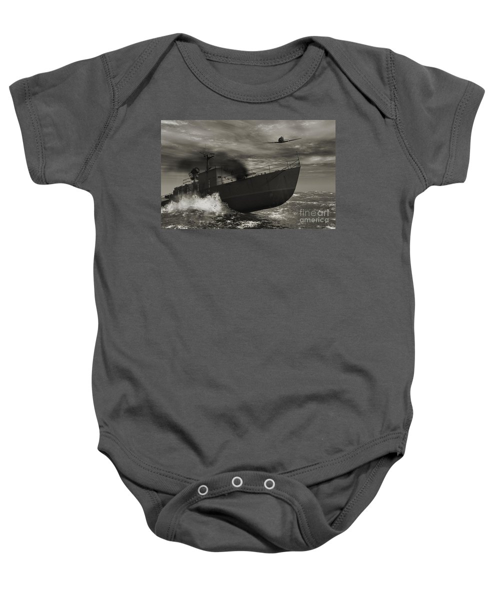 War Baby Onesie featuring the digital art Under Attack by Richard Rizzo