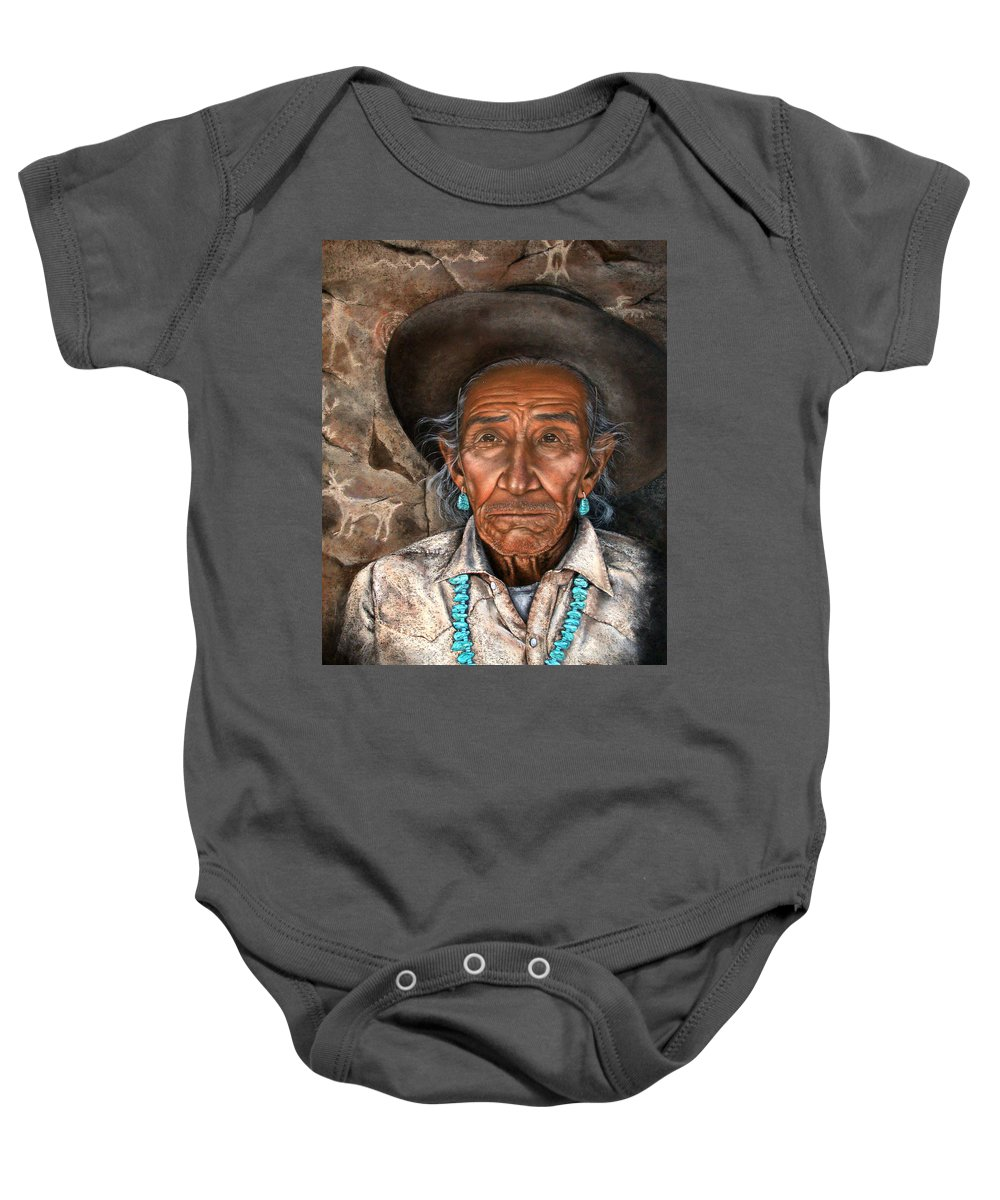 People Baby Onesie featuring the painting Vision Of The Past by Deb Owens-Lowe