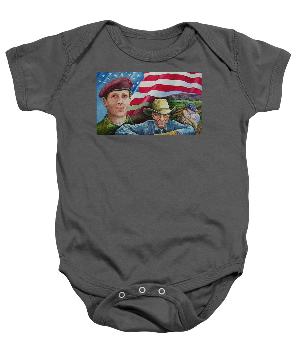 Soldier Baby Onesie featuring the painting We Hold These Truths by Gale Cochran-Smith
