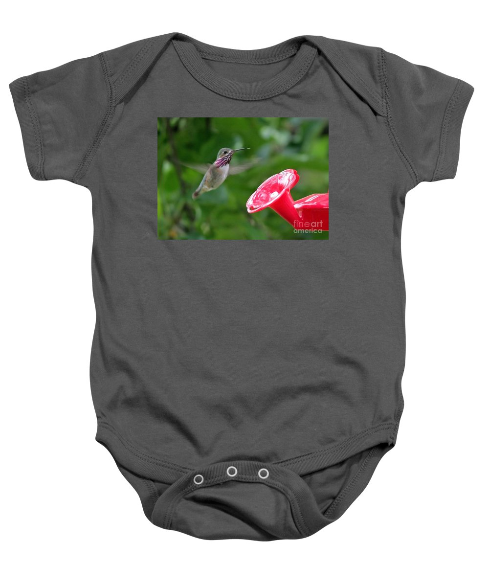 Hummingbird Baby Onesie featuring the photograph Welcome To The Garden by Carol Groenen