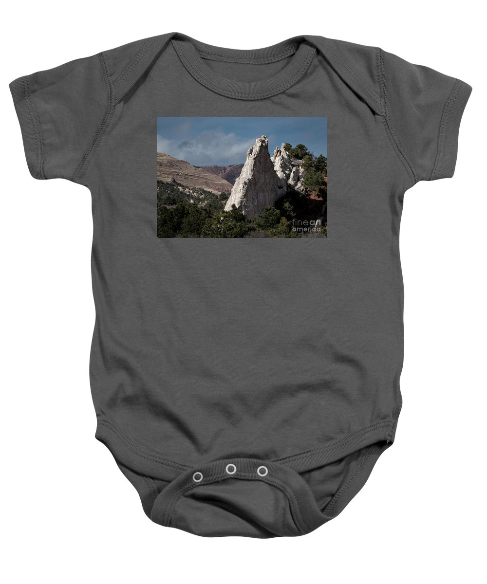 Colorado Springs Baby Onesie featuring the photograph White Rock, Garden Of The Gods by Jennifer Mitchell