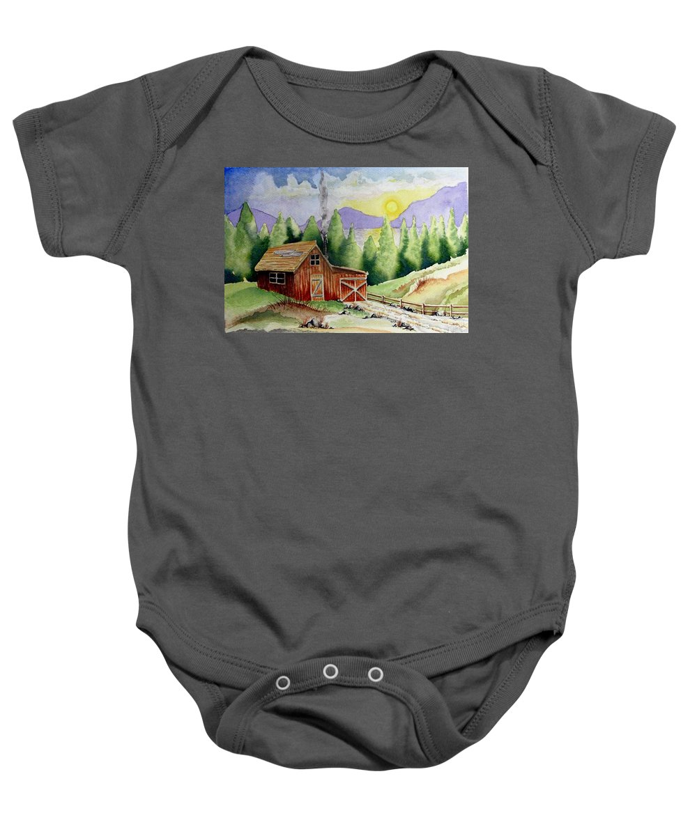 Cabin Baby Onesie featuring the painting Wilderness Cabin by Jimmy Smith