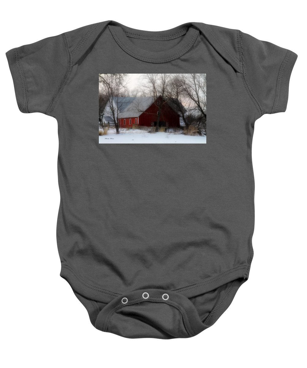 Barns Baby Onesie featuring the photograph Winter's Blessing by Melinda Martin