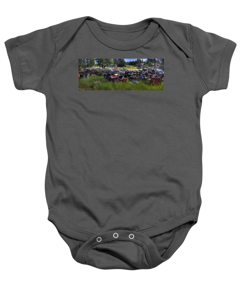 Automotive Baby Onesie featuring the photograph Wrecking Yard Study 9 by Lee Santa