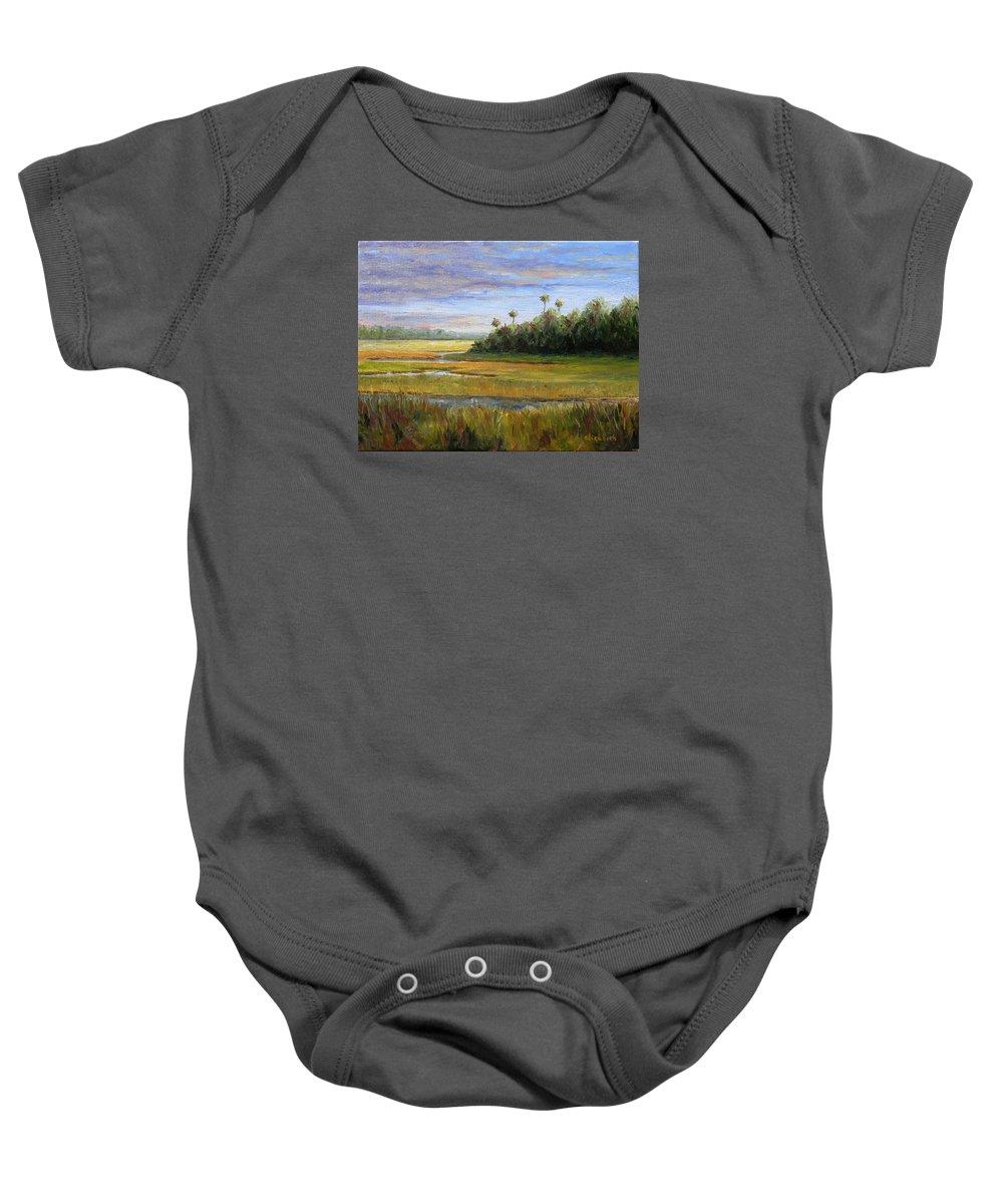 Marsh Baby Onesie featuring the painting Yellow Marsh by Beth Maddox