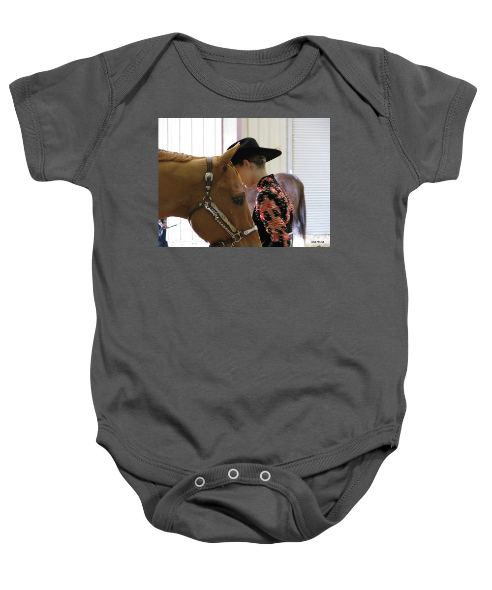 Patzer Baby Onesie featuring the photograph You Pray I Pray by Greg Patzer