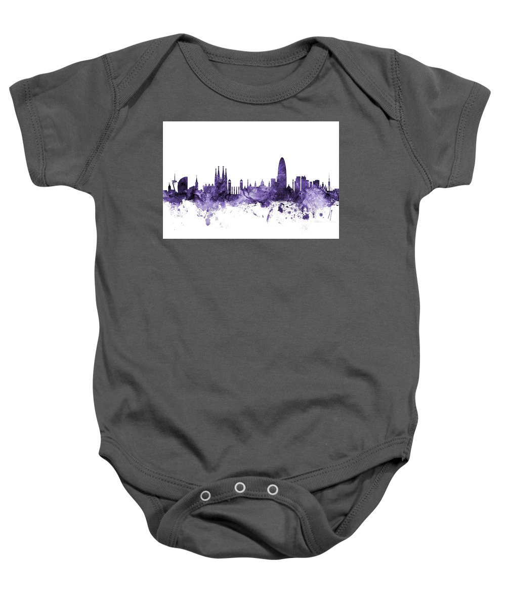 Barcelona Baby Onesie featuring the digital art Barcelona Spain Skyline by Michael Tompsett