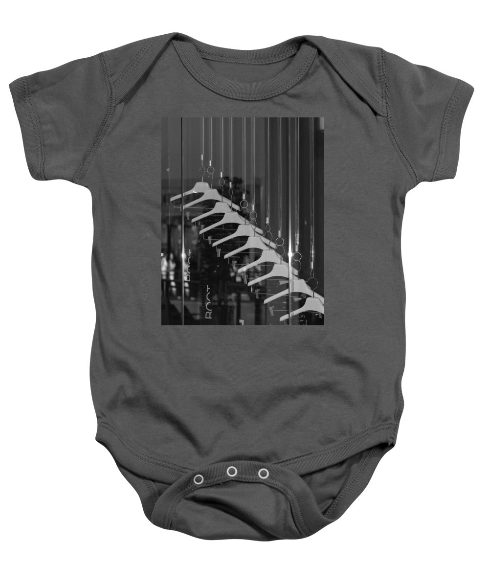 Hangers Baby Onesie featuring the photograph 10 Hangers In Black And White by Rob Hans