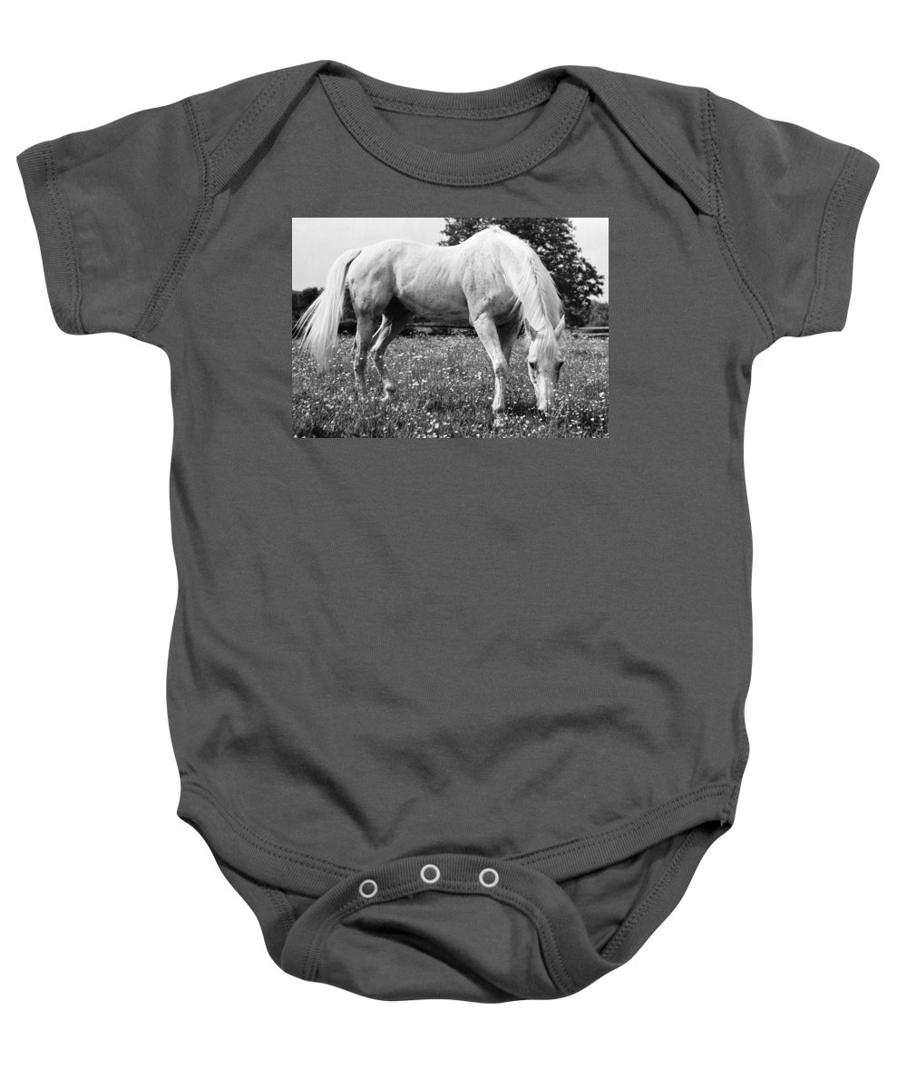 20th Century Baby Onesie featuring the photograph Horse by Granger