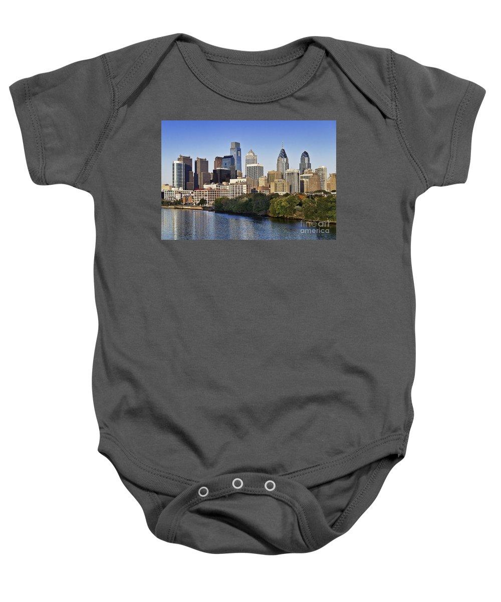 Pennsylvania Baby Onesie featuring the photograph Philadelphia Skyline by John Greim