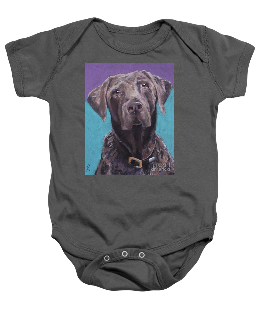 Pet Portrait Commissions Baby Onesie featuring the pastel 100 Lbs. Of Chocolate Love by Pat Saunders-White