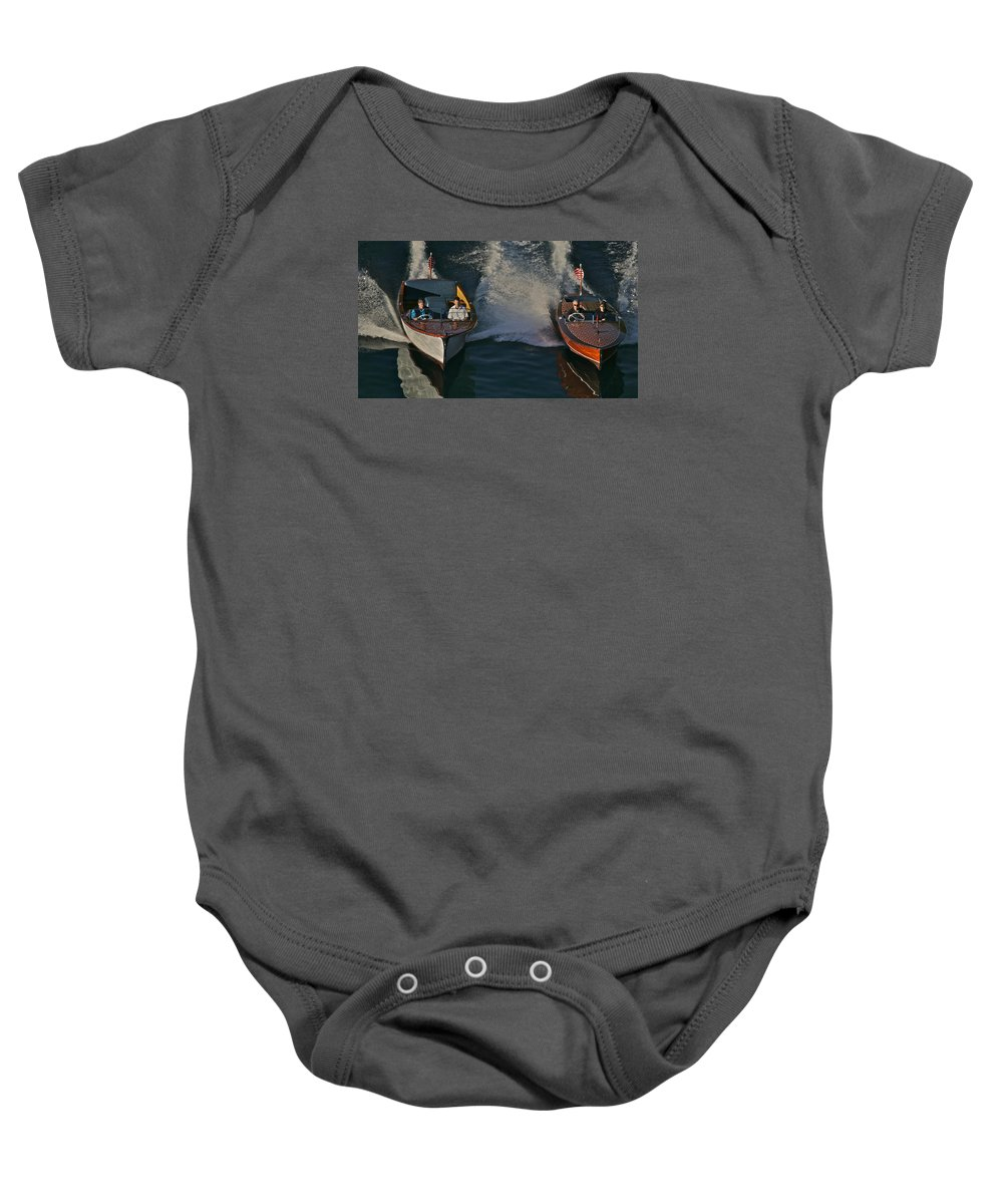 Tahoe Baby Onesie featuring the photograph Chris Craft Cousins by Steven Lapkin