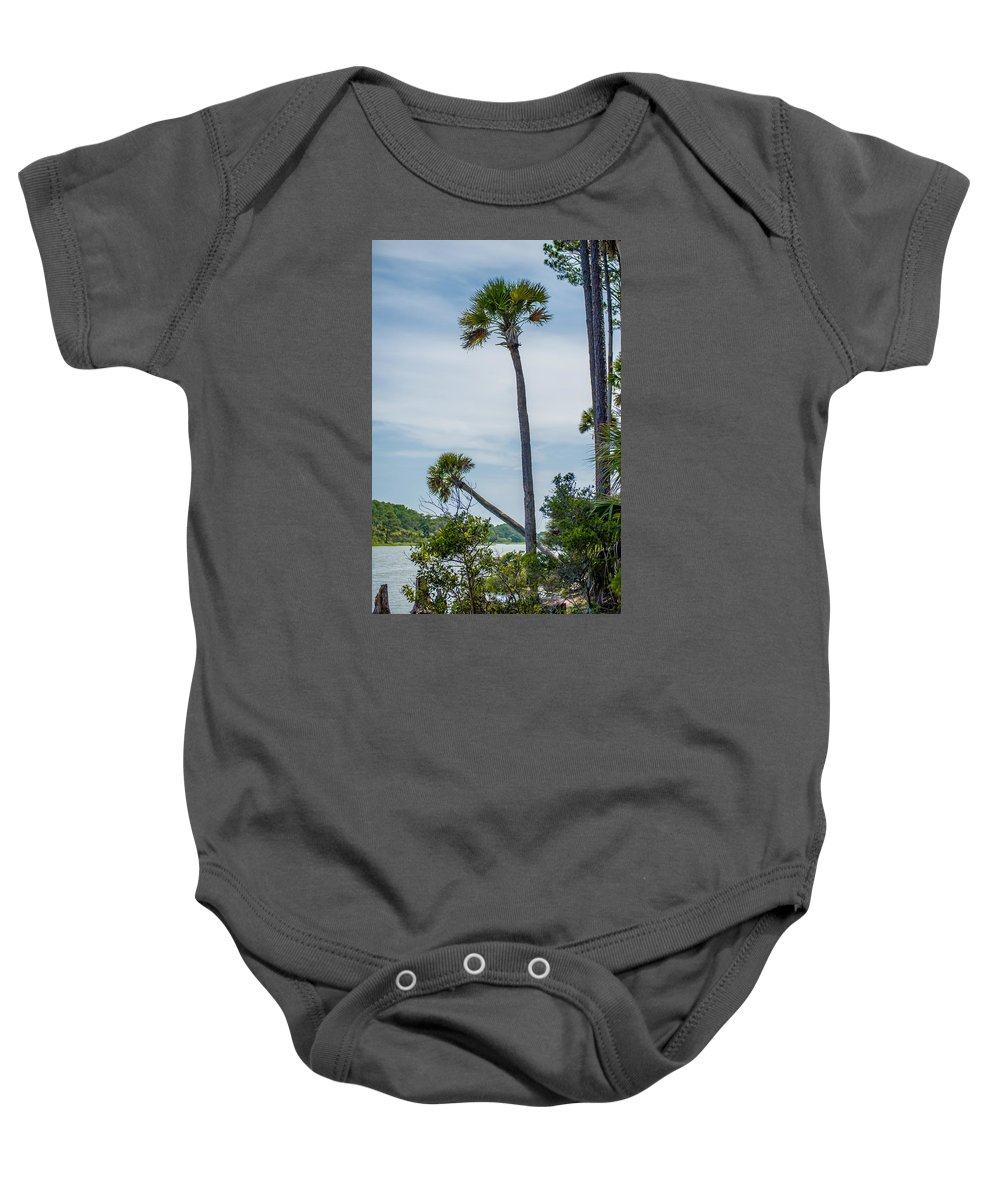 Beaufort Baby Onesie featuring the photograph Palmetto Forest On Hunting Island Beach by Alex Grichenko