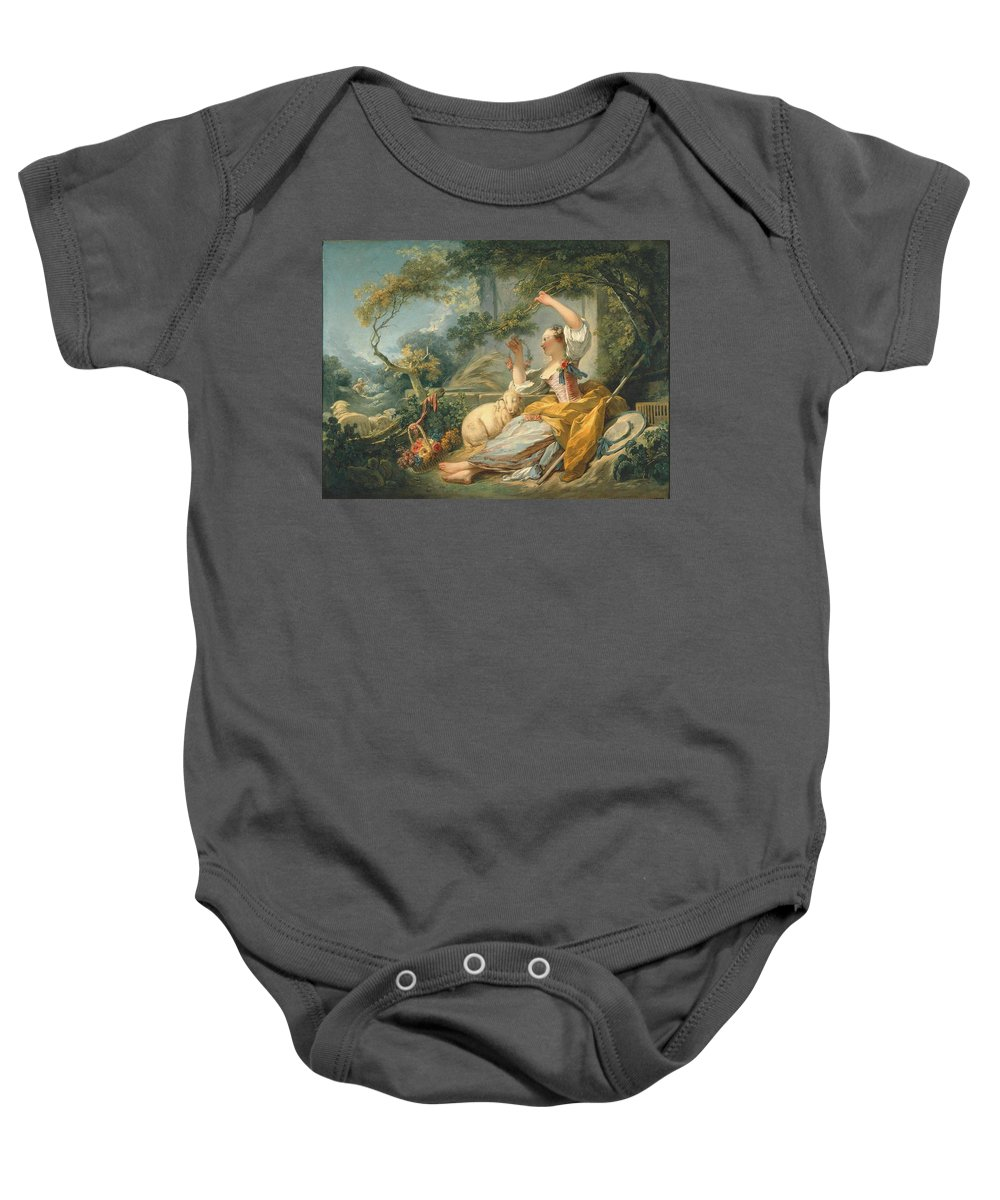 Ean‑honoré Fragonard (french Baby Onesie featuring the painting The Shepherdess by MotionAge Designs