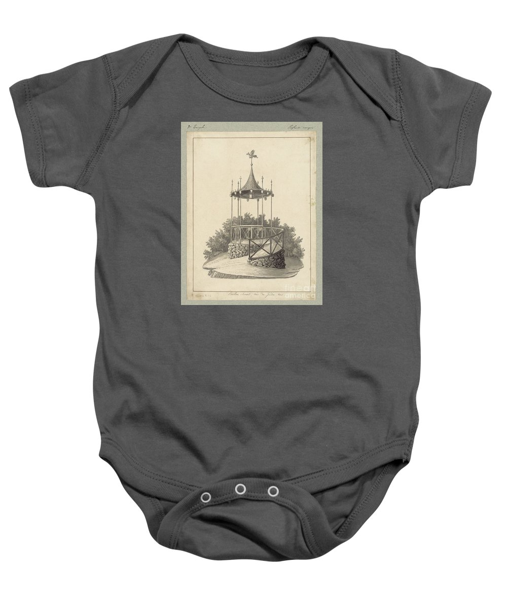 Drawn To Paris - Sketch Record Of Paris Buildings & Street Scenes From The 2nd Half Of The 19th Century - Pavillon Chinois Baby Onesie featuring the painting Drawn To Paris by Celestial Images