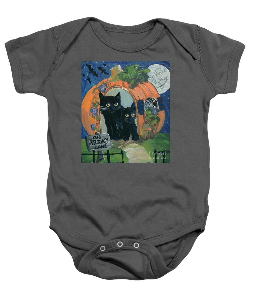 Halloween Baby Onesie featuring the painting 1313 Spooky Lane by Sylvia Pimental