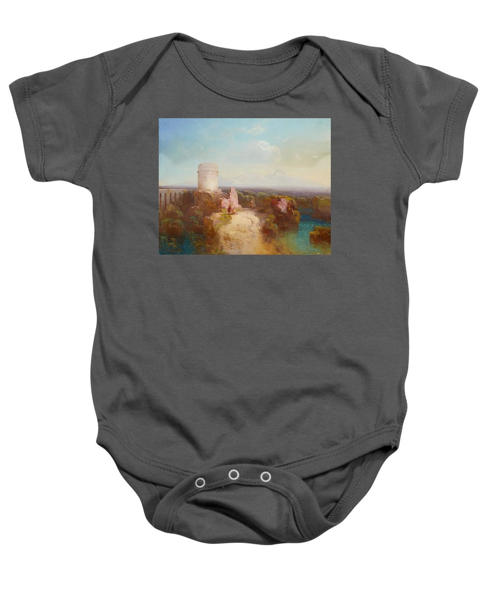 Conrad Schreiber Baby Onesie featuring the painting Landscape by MotionAge Designs