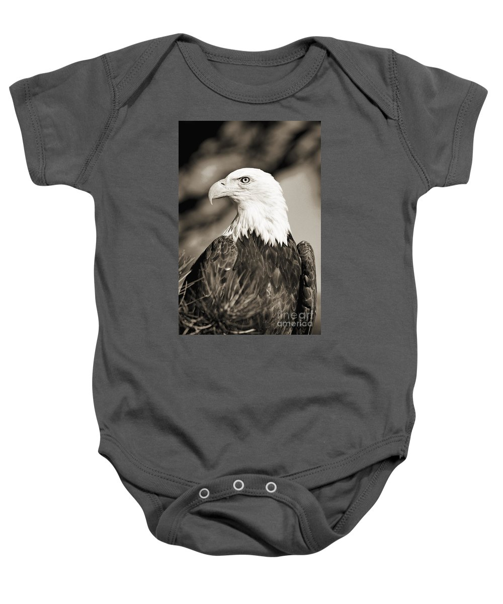 Afternoon Baby Onesie featuring the photograph Bald Eagle by John Hyde - Printscapes