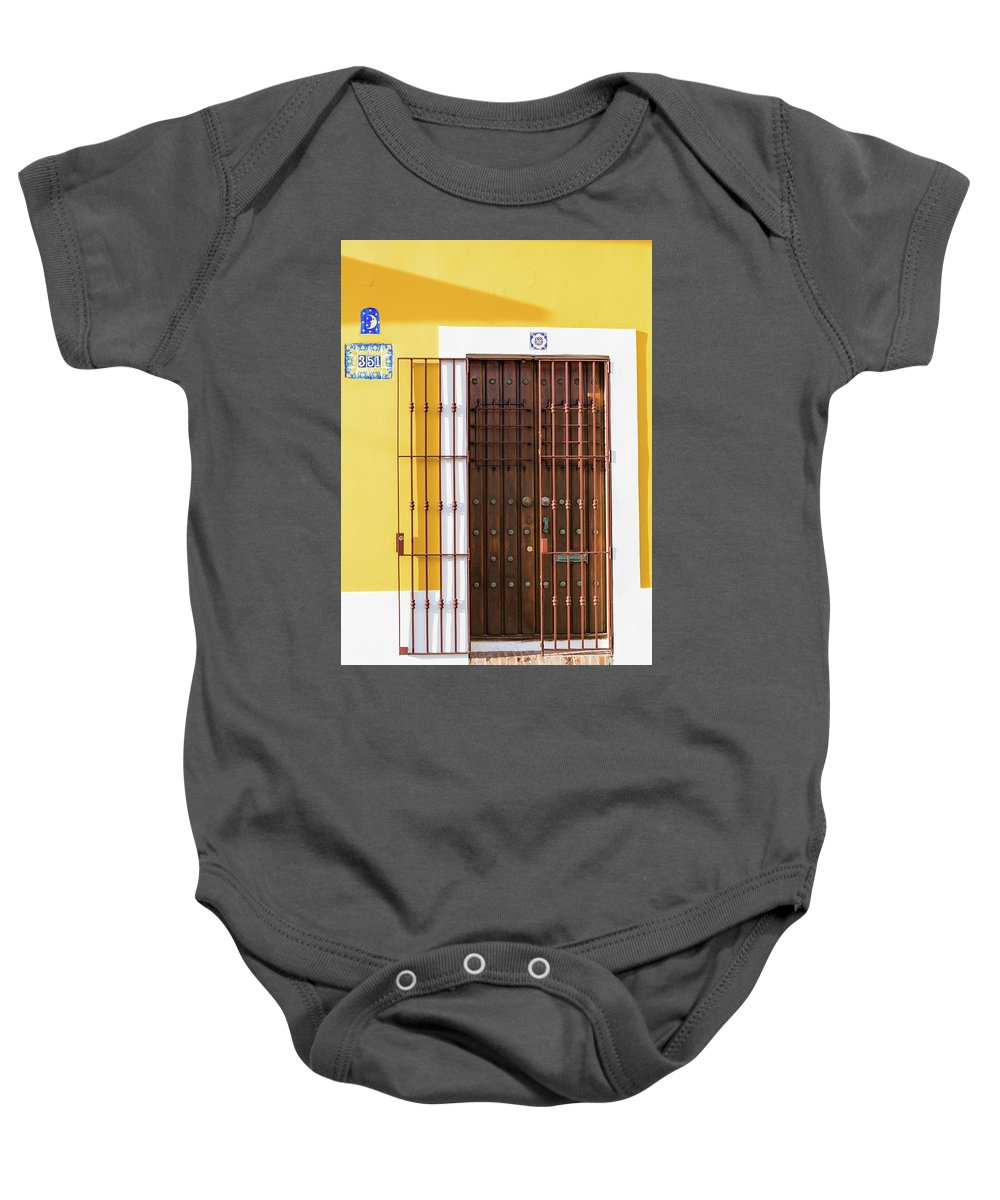 Door Baby Onesie featuring the photograph Wooden Door In Old San Juan, Puerto Rico by Jasmin Burton