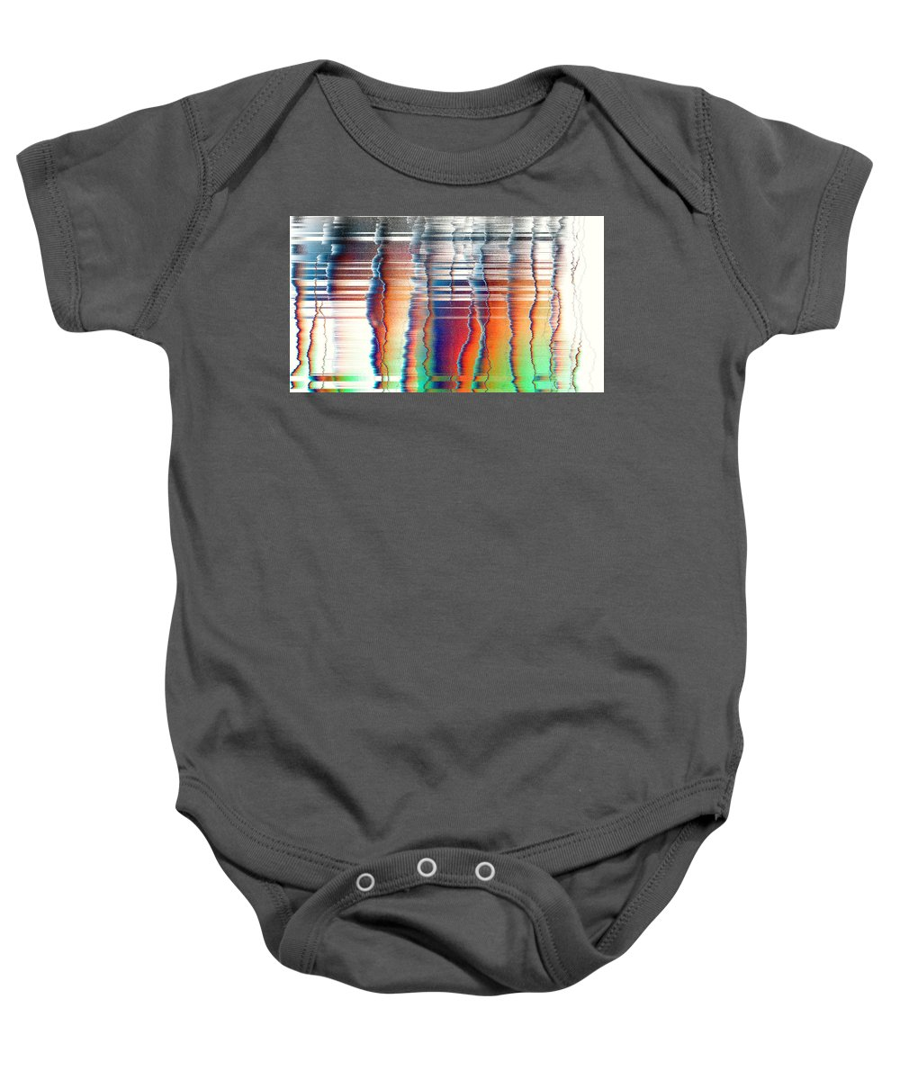 Rithmart Abstract Fade Fading Lines Organic Random Computer Digital Shapes Fading Layers Lines Reflected Baby Onesie featuring the digital art 16x9.189-#rithmart by Gareth Lewis