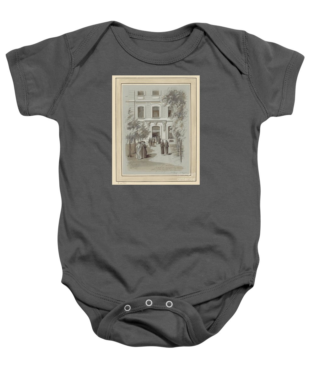 Drawn To Paris - Sketch Record Of Paris Buildings & Street Scenes From The 2nd Half Of The 19th Century - Grand Escalier De L'op�ra (1800s) Baby Onesie featuring the painting Drawn To Paris by Celestial Images