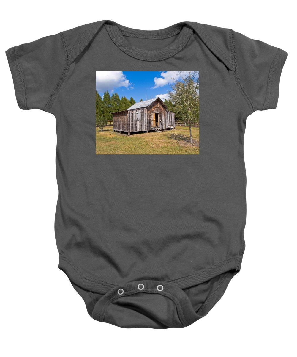 Cabin Baby Onesie featuring the photograph 1905 Florida Wheeler Board And Batten House by Allan Hughes