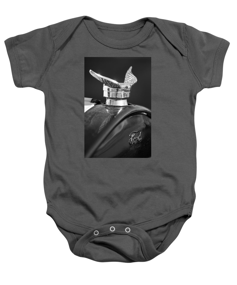 1925 Ford Model T Baby Onesie featuring the photograph 1925 Ford Model T Hood Ornament 2 by Jill Reger