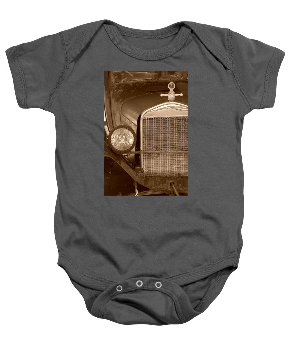 Sepia Baby Onesie featuring the photograph 1926 Model T by Rob Hans