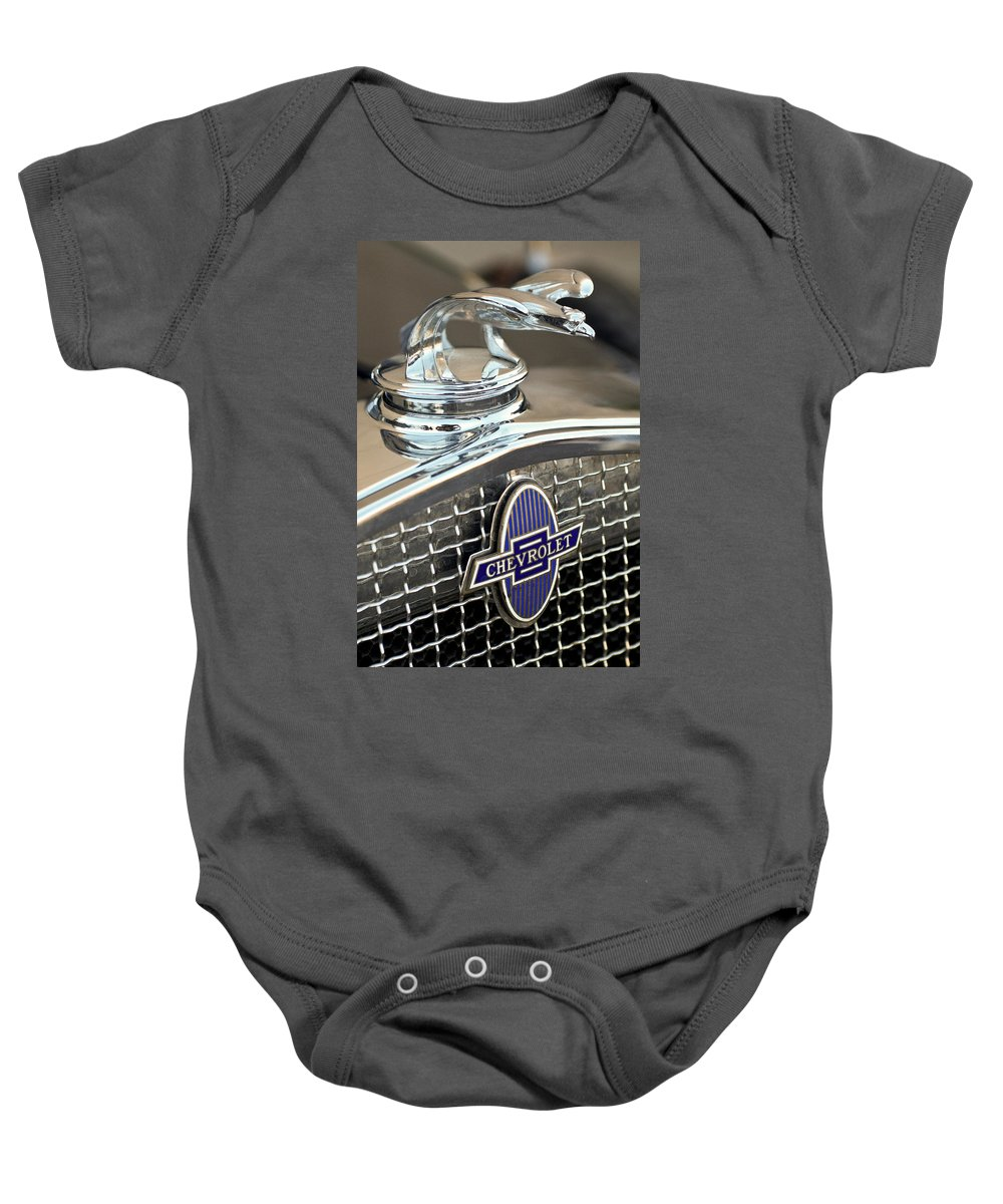 1931 Chevrolet Baby Onesie featuring the photograph 1931 Chevrolet Hood Ornament 2 by Jill Reger