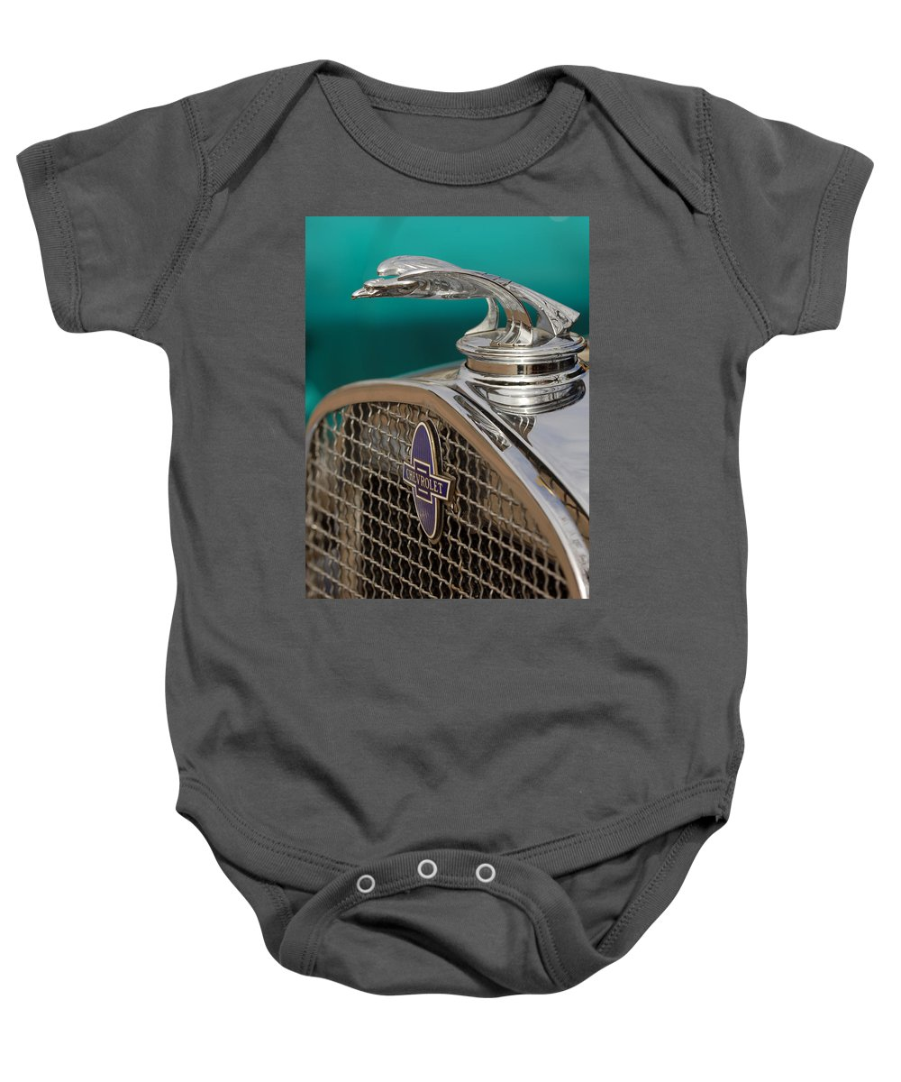 Car Baby Onesie featuring the photograph 1931 Chevrolet Hood Ornament by Jill Reger