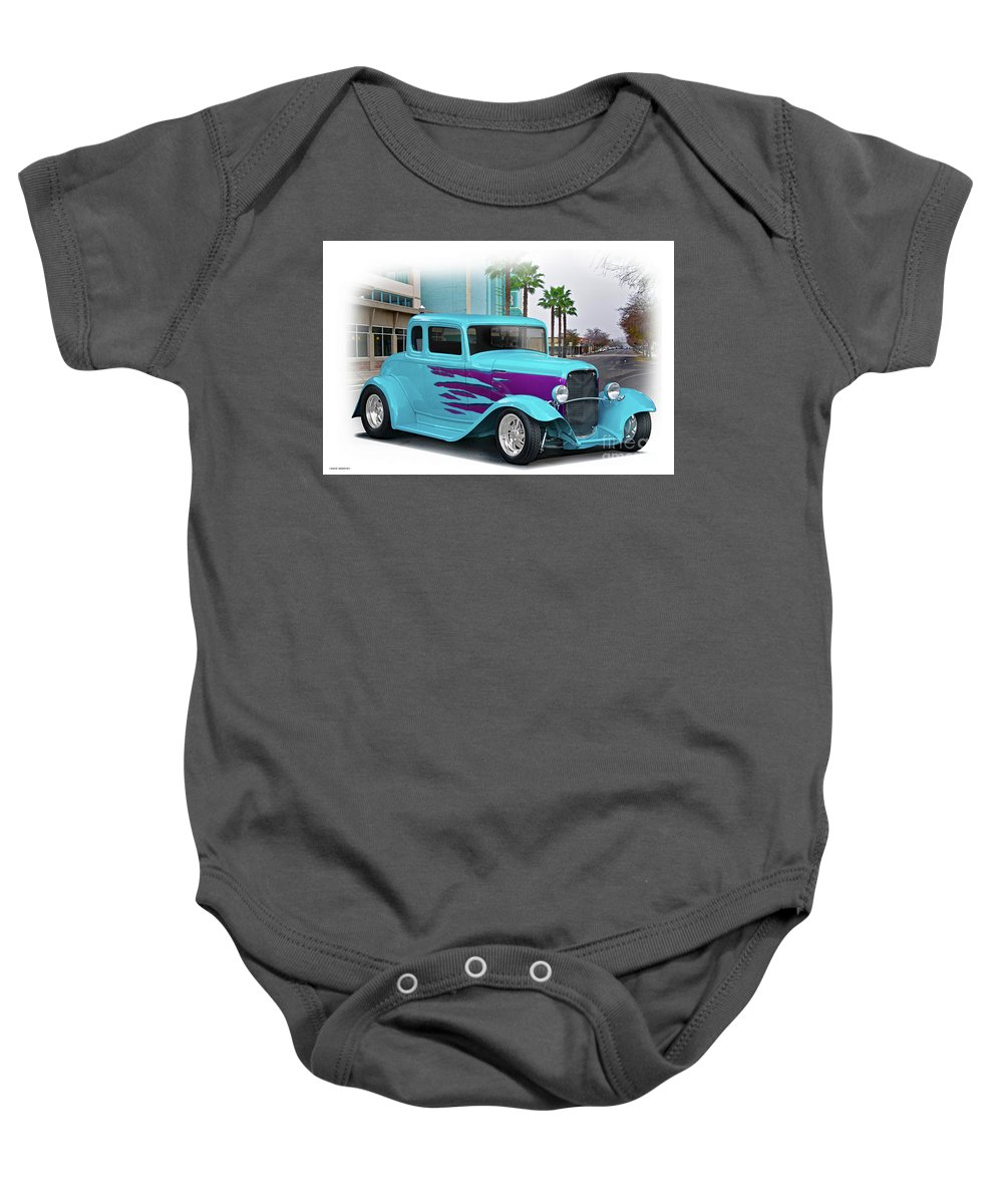 Auto Baby Onesie featuring the photograph 1932 Ford 'down Town' Coupe by Dave Koontz
