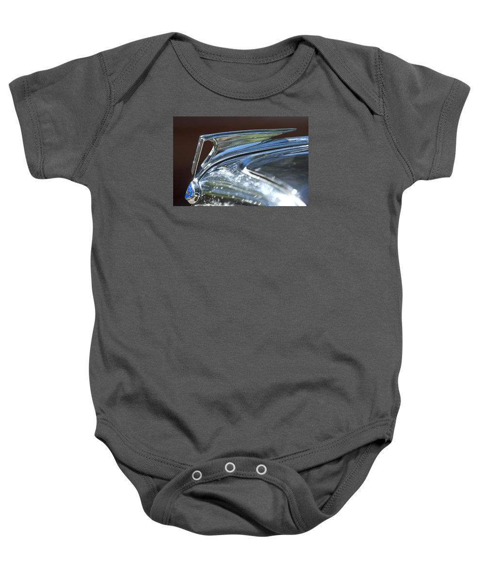 1935 Ford V8 Baby Onesie featuring the photograph 1935 Ford V8 Hood Ornament by Jill Reger