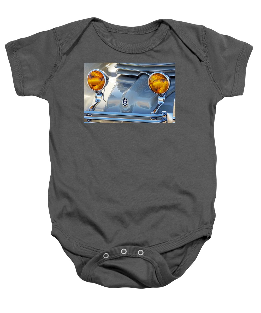 Car Baby Onesie featuring the photograph 1936 Cord Phaeton Headlights by Jill Reger