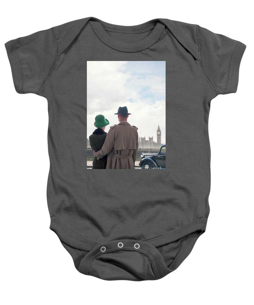 1930's Baby Onesie featuring the photograph 1940s Couple In London by Lee Avison